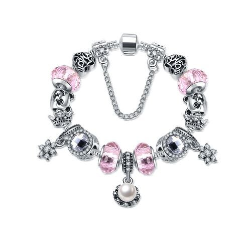 DIY foreign trade for the 2017 new home Zhupan Glass Jewelry Bracelet Pink Crystal Bracelet