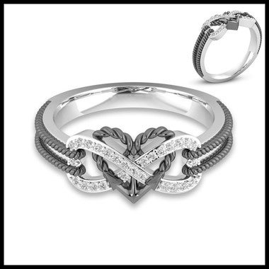 Hot Selling Exquisite 18K White Gold Plated Heart Tow-Tone Anniversary Wedding