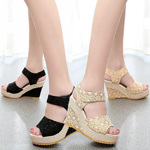 Fashion Women Girl Faux Leather High Heel Platform Lace Peep Toe Beach Sandals