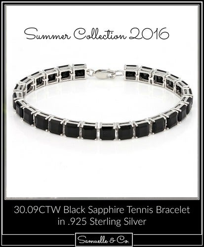 .925 Sterling Silver 30.09CTW Black Sapphire Tennis Bracelet. SSIL8246