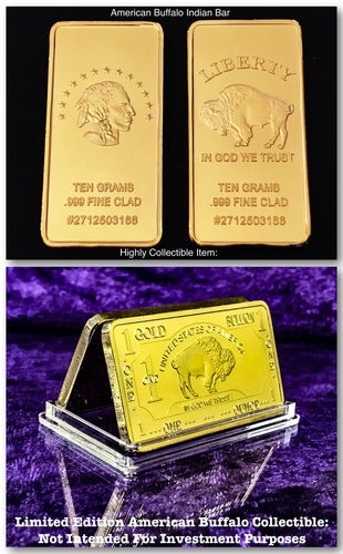 1 Troy Ounce .999  Gold Clad American Buffalo Indian Bar & ***United States Of America*** ***The Iconic Buffalo *** Limited Edition Art Bar