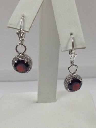 Natural Garnet with White Topaz Dangle Earrings 925 Sterling Silver