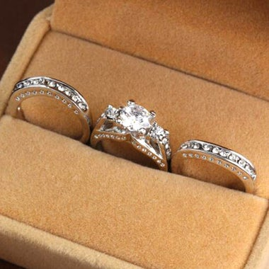 Pretty 3PCs AAA Zicon Wedding Ring set For Women