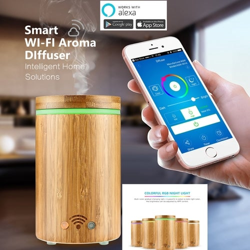 160ml Real Bamboo Wi-Fi Smart Aroma Diffuser APP Remote Control Voice Control with Alexa Ultrasonic Essential Oil Diffuser Humidifier Mist Atomizer with Colorful LED Light / Waterless AUTO Off PSE Approved - UK/EU/US Plug FOR Choosing
