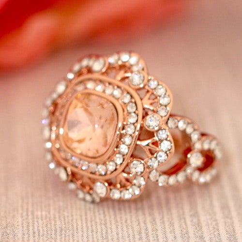 Vintage Flower Champagne CZ Rose Gold  Women Statement Ring Luxury Look