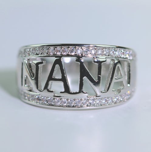 Nana Ring/Grandma Ring 18K White Gold Plated Christmas Gift   #862