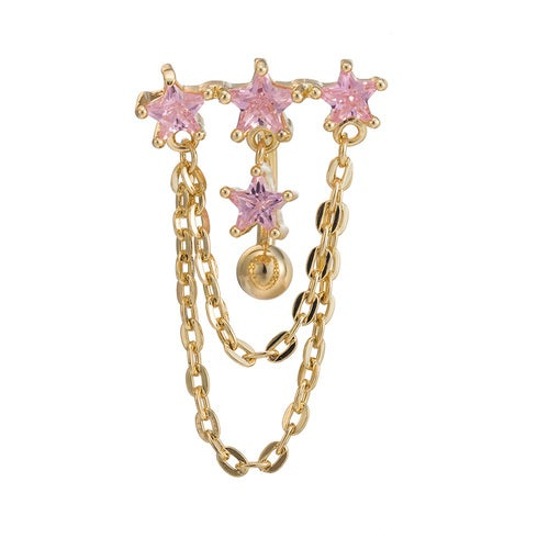 Hot Fashion Sexy Copper Double Layers Zircon Crystal Rhinestone Navel Belly Button Ring Nail Piercing Body Jewelry for Women Gift