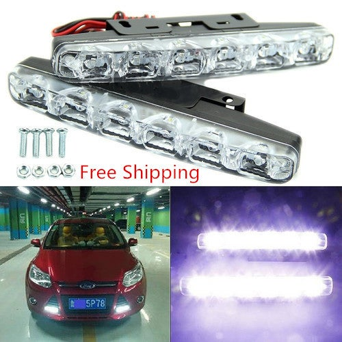 Free Shipping High Quality New 2 pcs LED 12V Car Light Daytime Driving Running Light Front Fog Head Lamp Fog Lamps Waterproof White Light