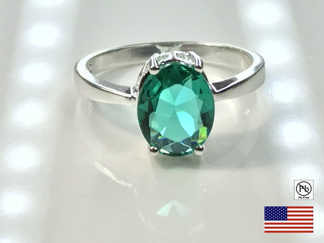 Prasolite on Silver Overlay Ring. Size 7, 8 or 9.