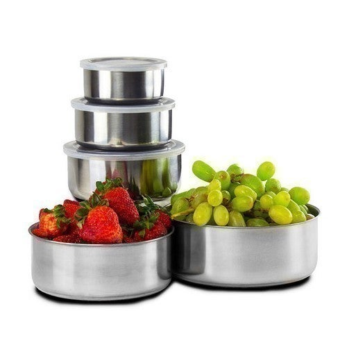10 Piece Set: Stainless Steel Storage Bowl Set with Clear Plastic Lids by Home Solutions