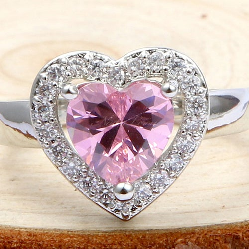 Charming Heart Shaped Pink Topaz Sterling Silver 925 Ring