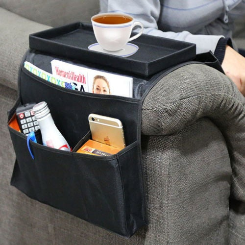 Home Black Arm Rest Storage Organizer House Bag for Sofa Chair or Couch Side