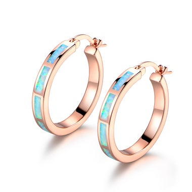 18k Gold Plated Rose Gold and Lab Created Opal Hoop Earrings