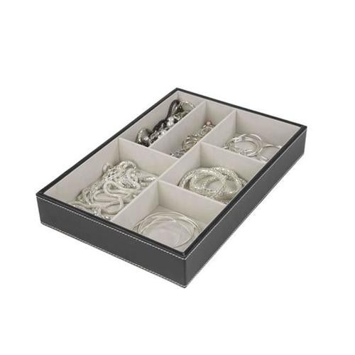 Home Basics DR49542 6 Compartment Jewelry Accessory Tray - Black