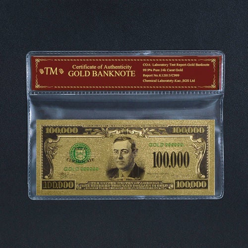 99.9% 24k Gold Foil Polymer Collectors US $100,000 with Certificate of Authenticity