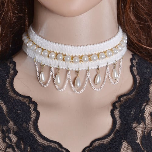 Womens Style Crystal Flower Chain Choker Statement Necklace