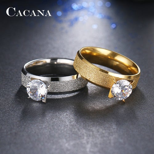 Stainless Steel 316L Sand Sparkle Wedding Engagement Band  2ct Austrian Crystal Solitaire Ring