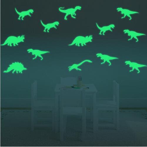 9PCS Wall Stickers New Kids Room Dinosaur Luminous Hot Fluorescent Home Decor