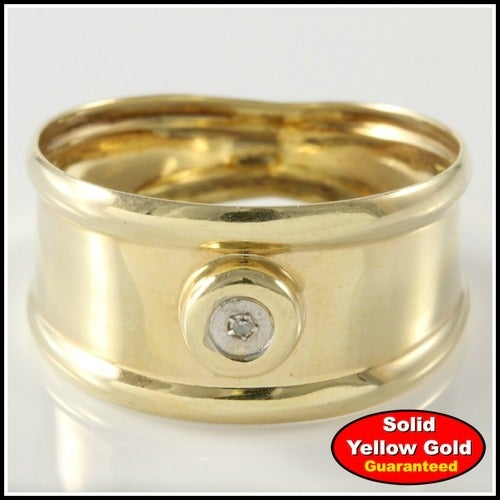 Solid 10k Yellow Gold Bezel Set Band/Ring Gold4223