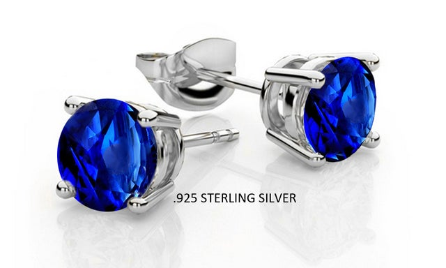Stunning .925 Sterling Silver Lab Created Blue Sapphire Stud Earings Basket Setting