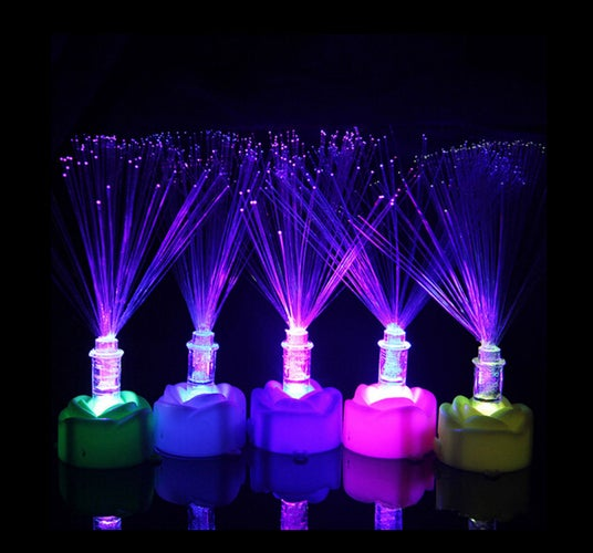 1 pcs Colorful Changing LED Fiber Optic Night Light Lamp Stand Home Garden Decor