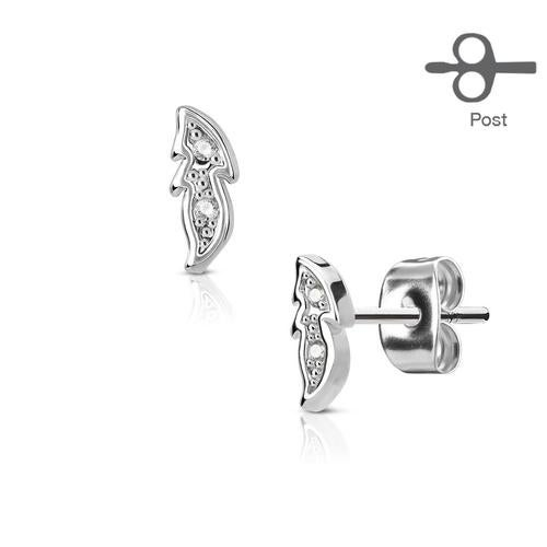 Pair of CZ Paved Small Leaf 316L Surgical Steel Post Earring Studs
