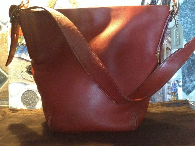 3676e1c2b8b8d Authentic Rare Vintage Coach Red Leather TotLarge Purse   Tophatter
