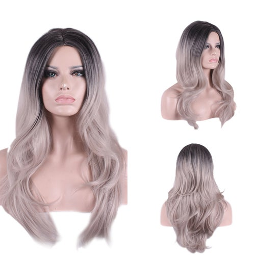 Grandmother gray gradient carve long curly hair synthetic wig for women girl