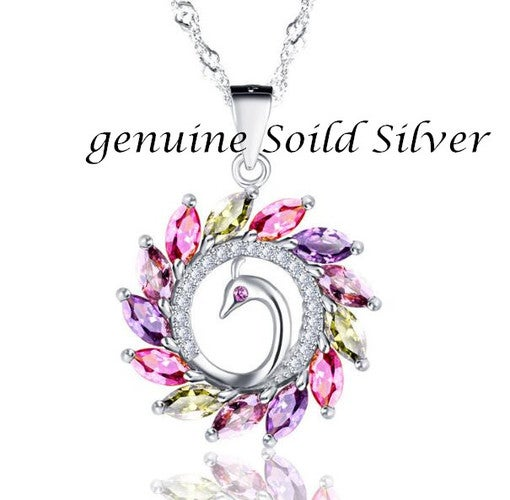Luxury Italian Crystal Soild Silver Colorful Peacock Pendant Chain Necklace