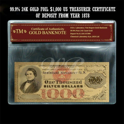 99.9% 24k Gold Foil Polymer Collectors 1878 $1,000 Silver Certificate with Certificate of Authenticity