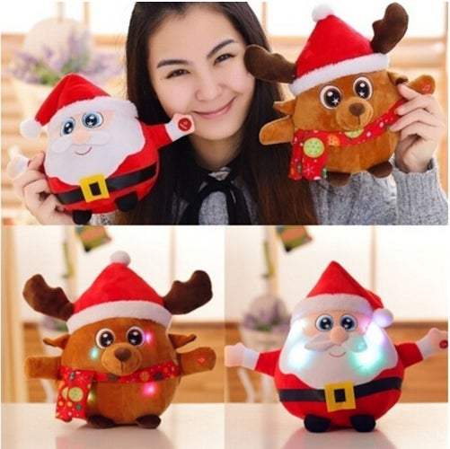 1PCS The New Audible Santa Doll Creative Elk Plush Toys Christmas Ornaments Gifts