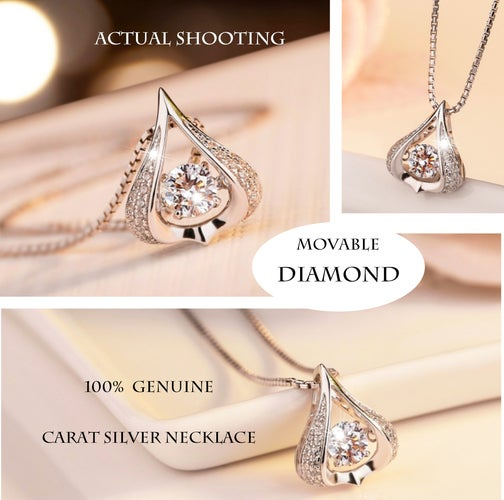 Classic Genuine Clear Diamond CZ Pendant Necklace In Sterling Silver