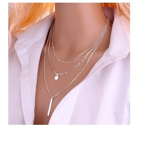 Eco-friendly Multi Layers (S) Tassels Bar Coin Necklace