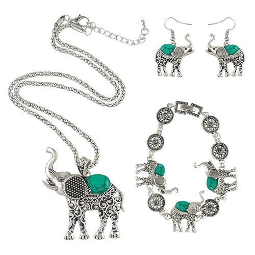 Retro Bohemian Style Red or Green Elephant Silver Plated Earrings Bracelet Necklace 3 In One Set Jewelry