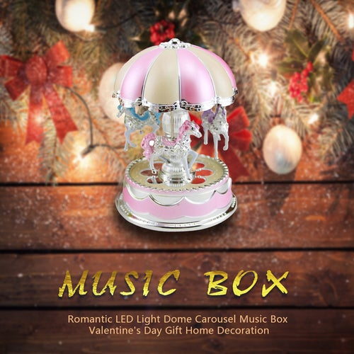 Romantic LED Light Dome Carousel Music Box Valentine's Day Gift Home Decoration