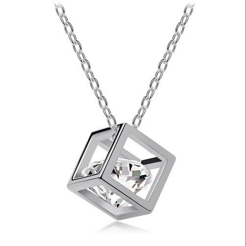 18kt White Gold Plated Cube Solitaire Cz Stone Necklace