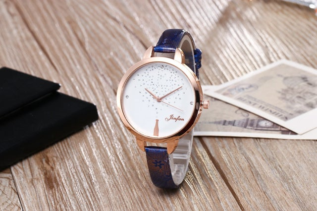 Europe and the United States fashion trend wild ladies business casual wear watch watch with imitation leather quartz watch