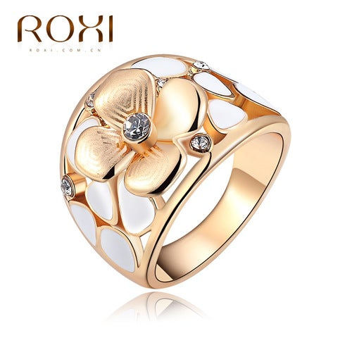 Rose Gold four flowers drip ring