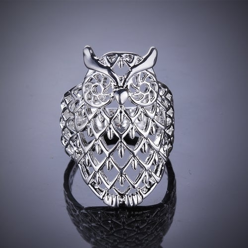 Hollow Owl Ring Silver Plated Wedding Bands Engagement Gift Fashion Jewelry Sets For Women Lady R541-8