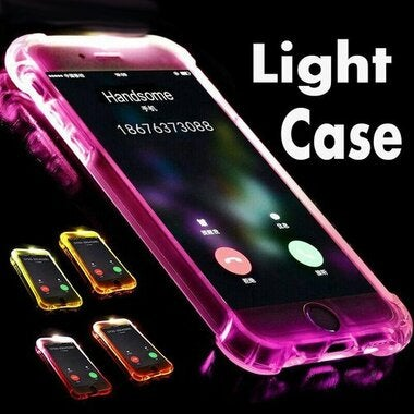 LED Call Light Up Flash Transparent Case For iPhone X 8 7 6 6S Plus 5 Samsung S8