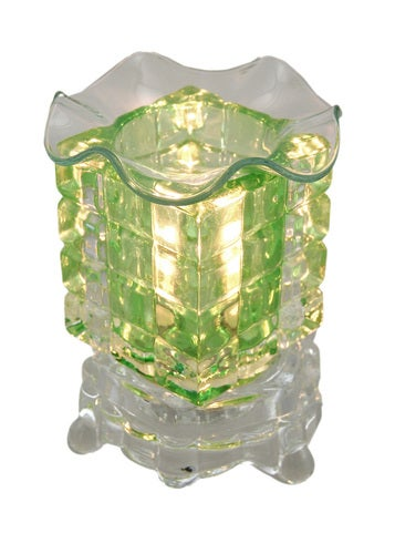 Zeckos - Green Faceted and Clear Glass Electric Scented Oil/Tart Warmer