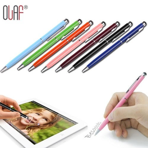 Universal High Quality Mini Metal Capacitive Touch Pen Stylus Screen For Phone Tablet Laptop Built-in Write Ballpoint Pen 2 in 1