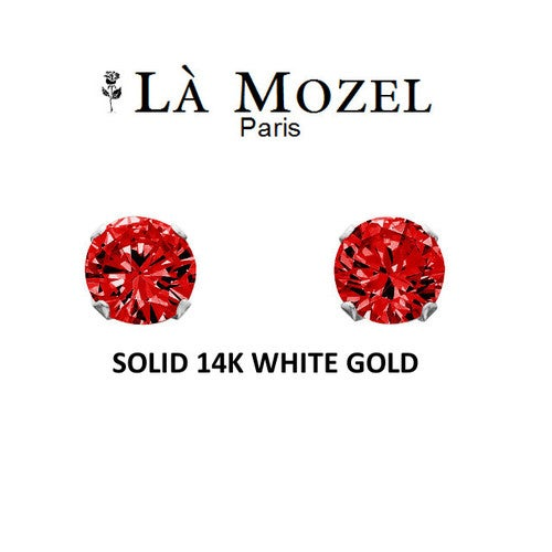 Luxury Solid 14K White Gold Classic Elegant HandCrafted Round Cut Stud Earrings Featuring Red Stone - 5MM