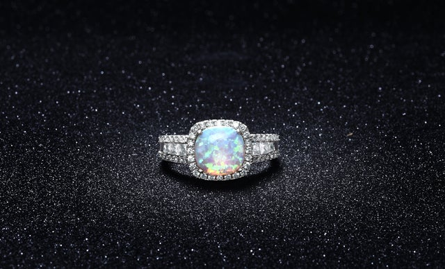 Stunning 18K White Gold Plated Lab-Created Opal Ring