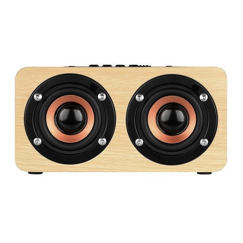 W5 Red Wood Grain Speaker Bluetooth 4.2 Light Dual Louderspeakers Super Bass Subwoofer Hands-free with Mic 3.5mm AUX-IN TF Card
