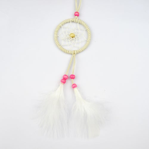 Pure Handmade Feathers Dream Catcher Lucky Charm Pendant with Circular Net Wooden Beads Car Wall Hanging Wind Chimes Home Decor Ornament Indian Style