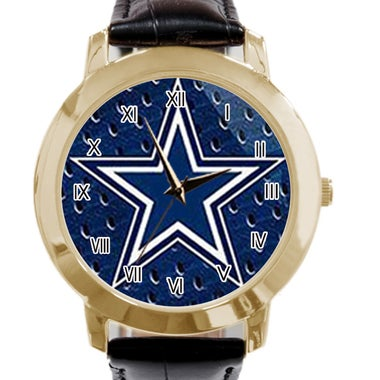 Dallas Cowboys Image Custom Simple Fashion Men's Lady Leather Quartz Gold Watch