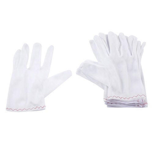 Unique Bargains Home Full Fingers Stretchy Labor Working Work Gloves L 5 Pairs White