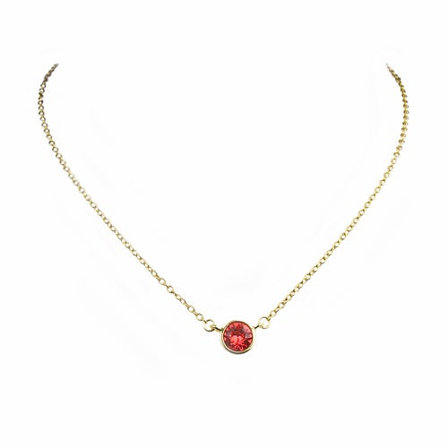 Captivating Red CZ Charm Pendant Necklace - Round