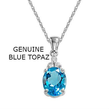 Sterling Silver Chain Genuine Blue Topaz Pendant Necklace